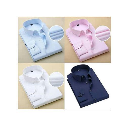 Onitshamarket - Buy Fashion 4 Set Of Men Shirt White + Navy Blue + Pink + Sky Blue.