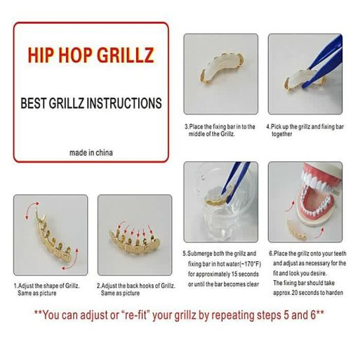 Onitshamarket - Buy Generic 6 Plating Shiny Grillz Teeth Electroplate Copper Hip Hop Grill Men's Jewelry