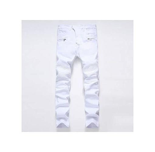 Onitshamarket - Buy Mens Skinny Jean Distressed Slim Elastic Jeans Denim Biker Jeans Hip Hop Pants Washed Ripped Jeans Plus Size 28-42-white Jerseys