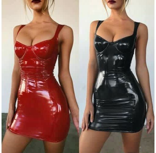 Onitshamarket - Buy Women Sexy Latex Faux Leather Bodycon Party Cocktail Dress