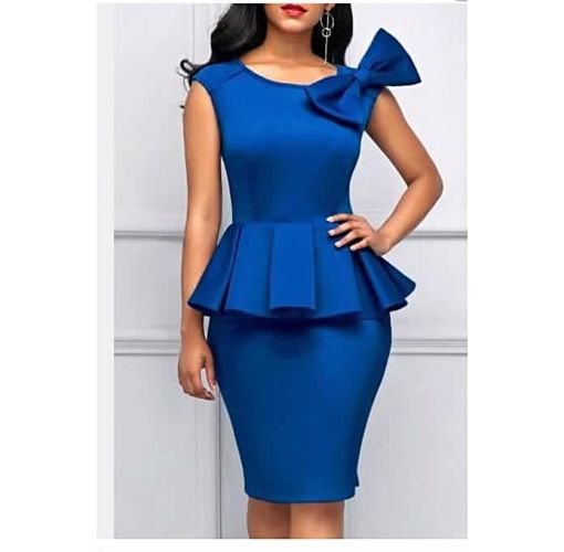 Onitshamarket - Buy Blue Body-Con Gown With Bow