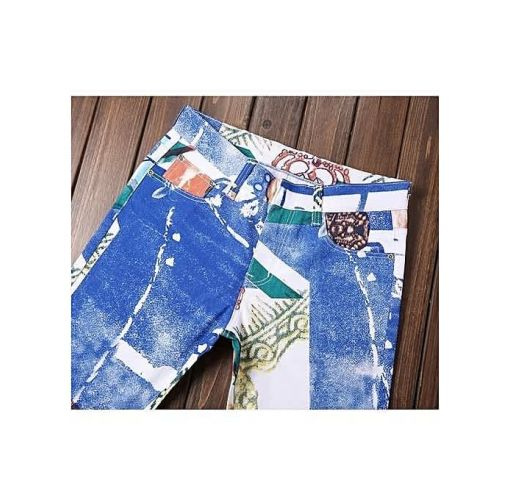 Onitshamarket - Buy Printed Men Jeans Fashion Male Unique Cotton Stretch Jeans Man's Casual Character Pattern Biker Jeans Clothing
