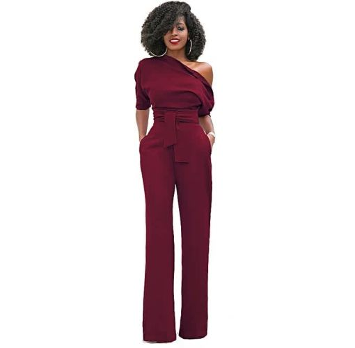 Onitshamarket - Buy Comfortable Women S One Shoulder Solid Jumpsuits Wide Leg Long Romper Pants With Belt Jumpsuits and Playsuits