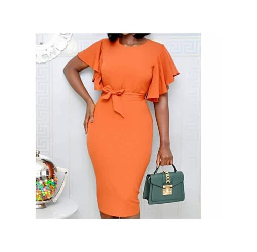 Onitshamarket - Buy Fashion Bat Wing Sleeves Midi Dress - Orange