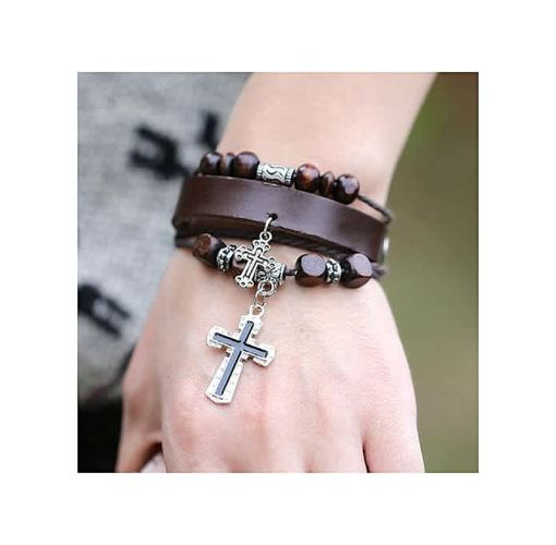 Onitshamarket - Buy Fashion Fashion Cross Woven Hand Chain Top Layer Leather Alloy Charm Bracelets Brown Men's Jewelry