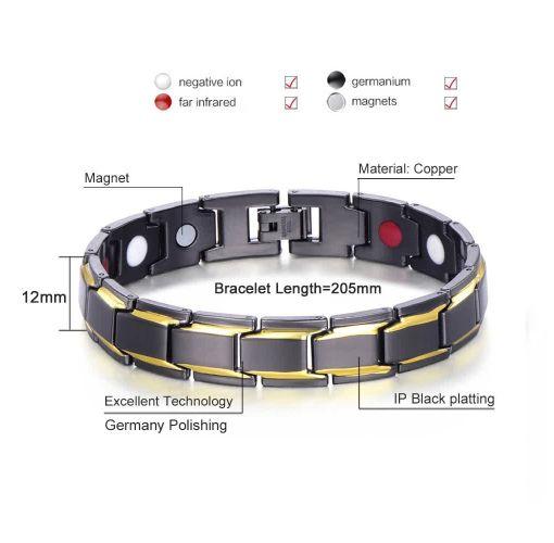 Onitshamarket - Buy Magnets Healthy Gold Plating Titanium Bracelet(Color:Gold)