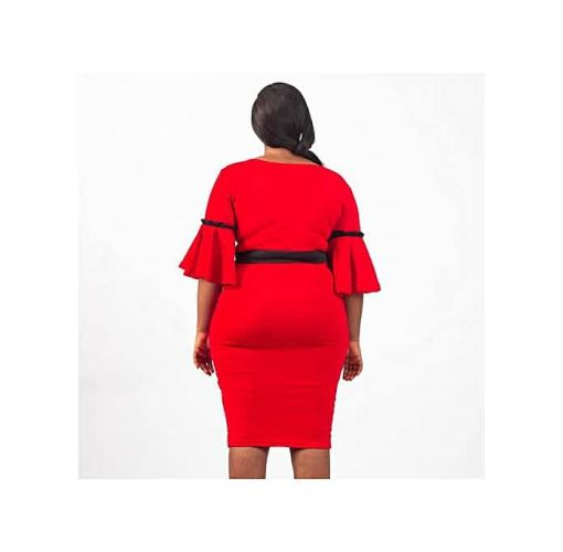 Onitshamarket - Buy Virtue Clothier Adele Contrast Bell Sleeve Midi Dress Clothing