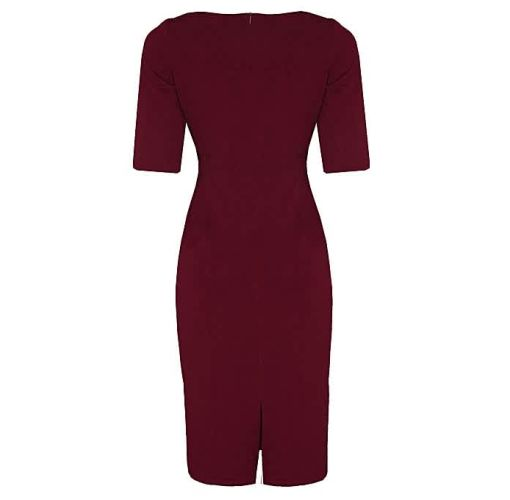 Onitshamarket - Buy Double Collar Detail Corporate Dress -Wine Red Clothing