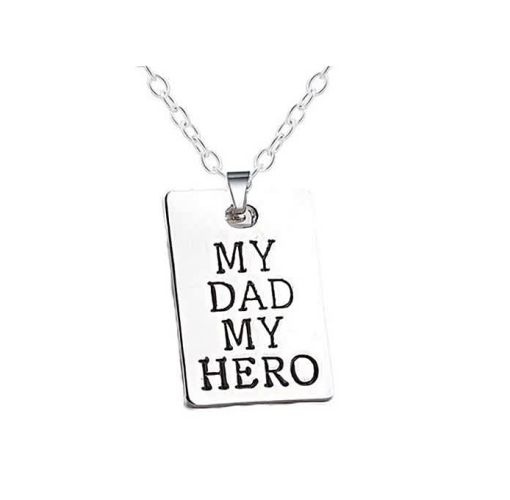 Onitshamarket - Buy Father's Day Gift Simple Style Fashion Necklace Pendant My Dad & My Hero Letter Tag Necklace 2pcs