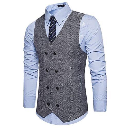 Onitshamarket - Buy V Neck Double Breasted Belt Design Waistcoat - GRAY - Fashion