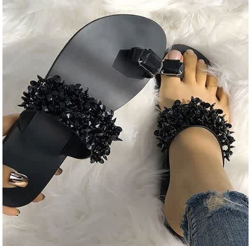 Onitshamarket - Buy NEW Women Fashion Beach Flip Flops Flat Sandals Casual Shoes Crystal Sandals Summer Slippers Plus Size