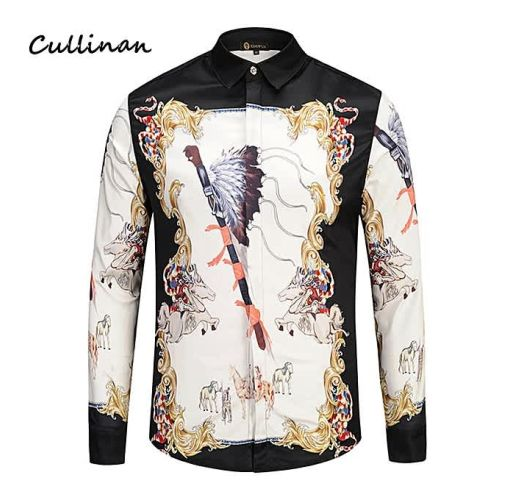 Onitshamarket - Buy AFankara Men Print Long Sleeves Shirt, Men's Clothing—White Black Clothing