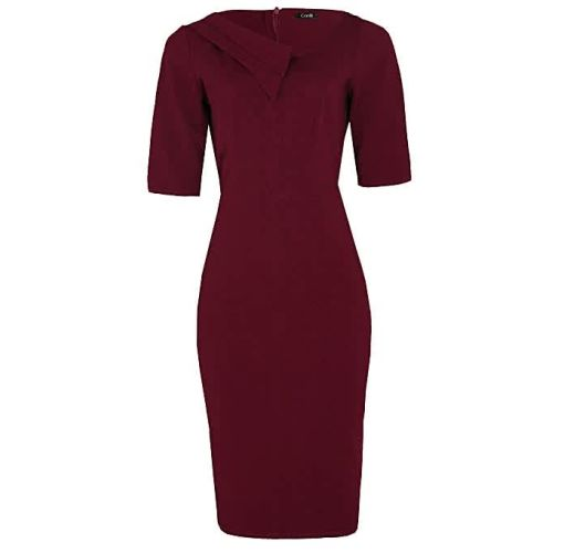Onitshamarket - Buy Double Collar Detail Corporate Dress -Wine Red