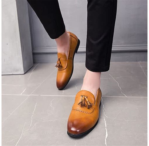 Onitshamarket - Buy Men Genuine Leather Shoes Tassel Boats Formal Moccasins Casual Loafers (Brown) Formal Shoes