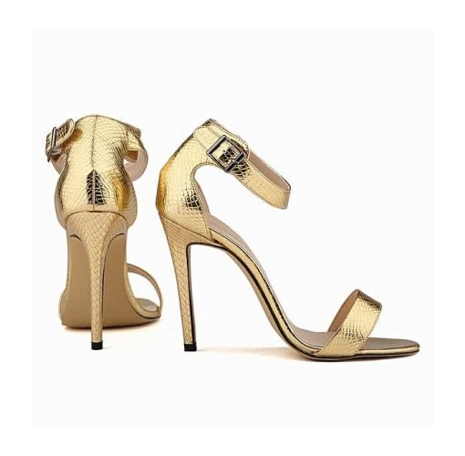 Onitshamarket - Buy generic Loslandifen Open Toe Stiletto Heels With Ankle Strap - Gold Clothing