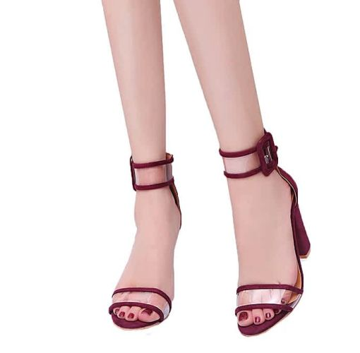 Onitshamarket - Buy Fashion Bliccol High Heel Shoes Women's Ladies Block High Heel Sandals Ankle Platforms Shoes Buckle High Heels-Wine Red