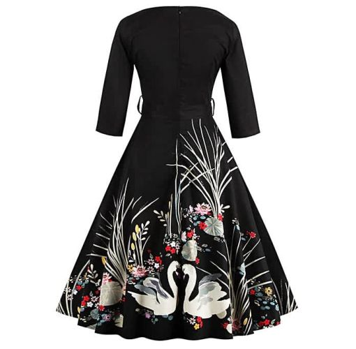 Onitshamarket - Buy Women Dresses Printing V-neck Party Dress Elegant Dress Casual Ball Gown Dresses For Women - Black Clothing