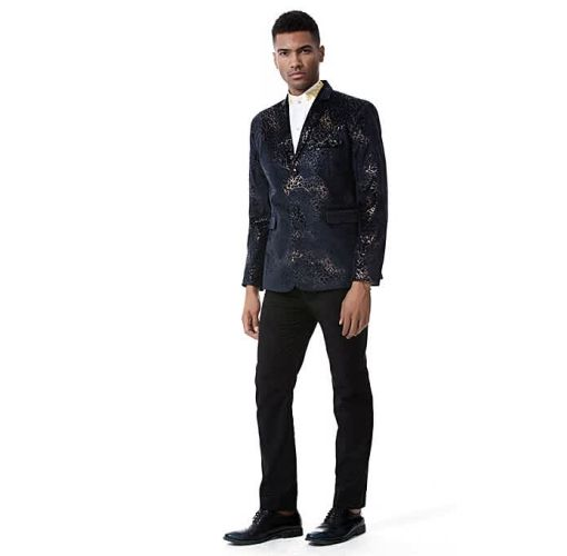 Onitshamarket - Buy Men Suit Formal Skinny Printed Blazer Prom Coat - Black