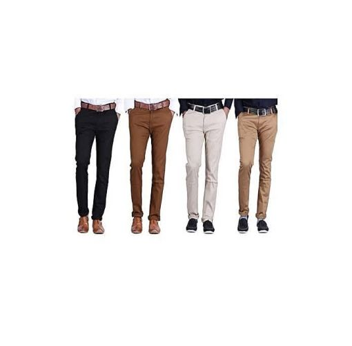 Onitshamarket - Buy 4 In 1 Smart Chinos Black + Cream + Chocolate Brown + Brown - Fashion