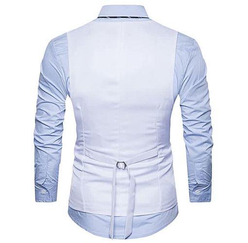 Onitshamarket - Buy Fashion Men Casual Slim Fit Single Breasted Tuxedo Vests Waistcoats Men Chalecos Para Hombre-WHITE