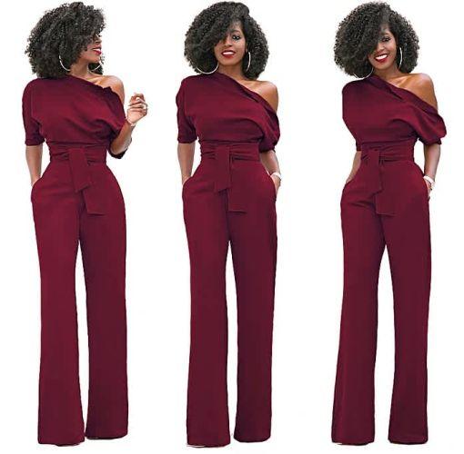 Onitshamarket - Buy Comfortable Women S One Shoulder Solid Jumpsuits Wide Leg Long Romper Pants With Belt