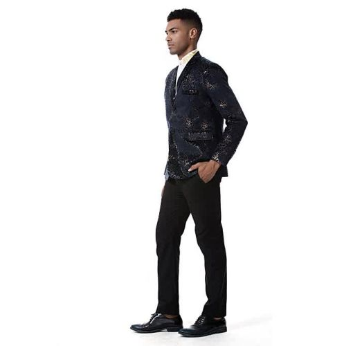 Onitshamarket - Buy Men Suit Formal Skinny Printed Blazer Prom Coat - Black Clothing