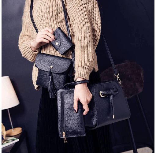 Onitshamarket - Buy Universal - Women Four Set Fashion Handbag Shoulder Bag Four Pieces Tote Bag Crossbody Wallt - Universal Handbags and wallets