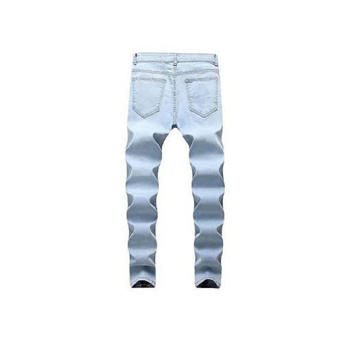 Onitshamarket - Buy Men's Jeans New Locomotive Knee Pleated Hole Side Zip Stretch Feet Men's Pants-blue Jerseys