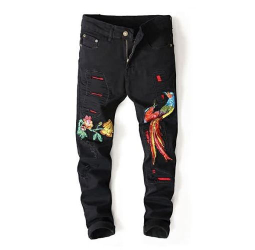 Onitshamarket - Buy AFankara Men Levis Style Embroidery Broken Hole Jeans-Black