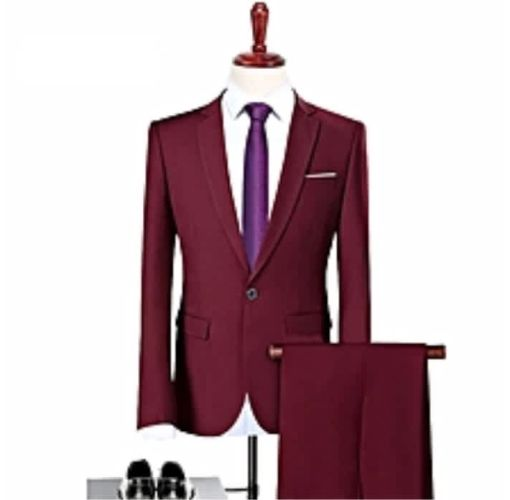 Onitshamarket - Buy Wine Red Suit Slim Fit Leisures Business Suit For Men - Fashion
