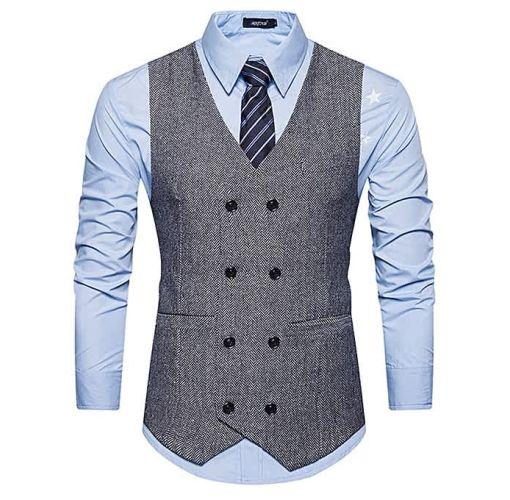 Onitshamarket - Buy V Neck Double Breasted Belt Design Waistcoat - GRAY - Fashion Clothing