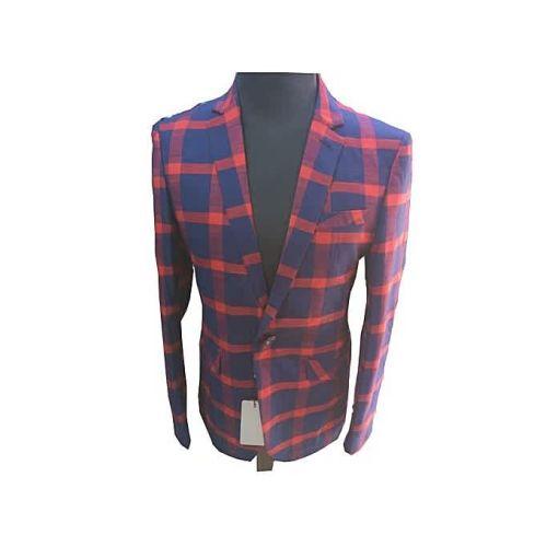 Onitshamarket - Buy Fashion Flamboyant Red Checkered Men's Blazer Clothing