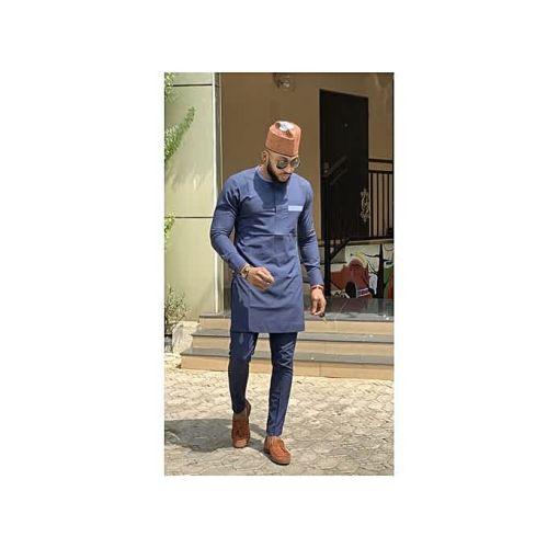 Onitshamarket - Buy Men's Blue Native Wear With Contrasting Brown Cap