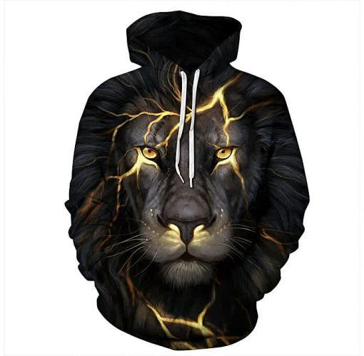 Onitshamarket - Buy Unisex Long Sleeve Lightning Lion 3D Printed Hooded Hoodies Sweatshirts PHMWY3D068 Clothing