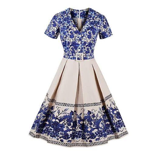 Onitshamarket - Buy Fashion Women Elegant Vintage Retro Dress V-neck