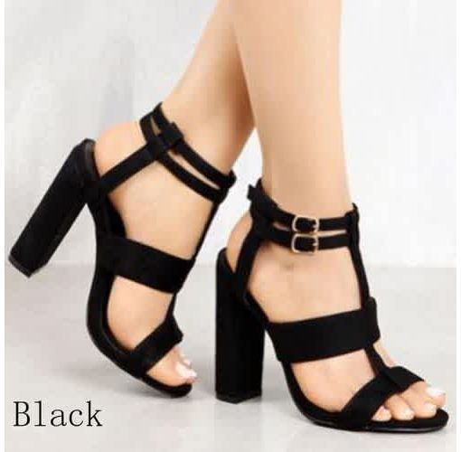 Onitshamarket - Buy Women's Fashion High-heeled Foreign Trade Hollow Head Thick with Perennial Sandals Open Toe Shoes