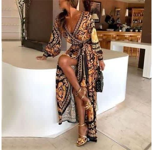 Onitshamarket - Buy Womens Autumn Boho Floral Long Sleeve Long Maxi Dress Party Beach Sundress Evening Dresses New Clothing