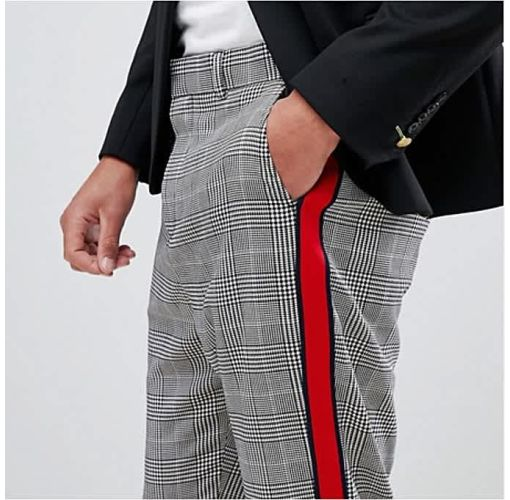 Onitshamarket - Buy Johnnie Fits Men's Checked Trouser With Red Side Taping Clothing