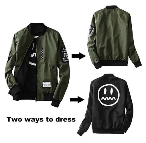 Onitshamarket - Buy Fashion Wind Breaker Men Jacket With Patches Both Side Wear Thin Bomber Jacket Coat Clothing