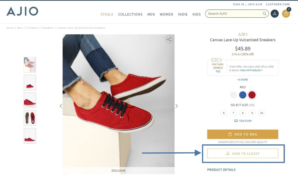AJIO | Product Description - E-Commerce CRO