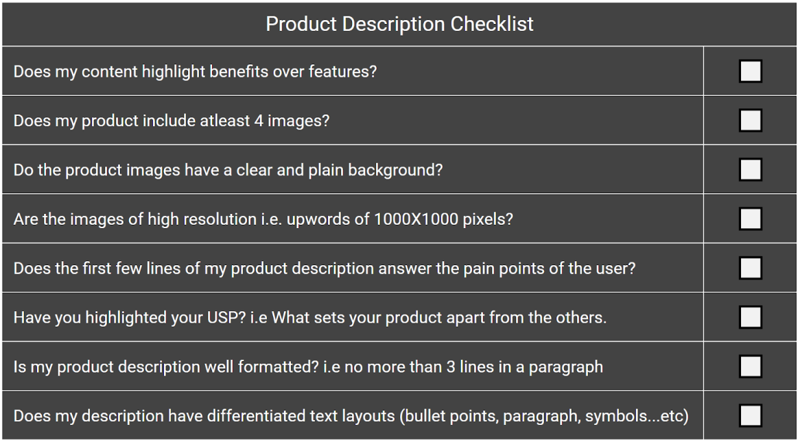 Product Description Checklist | E-Commerce CRO