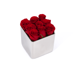 Valentine's Classic Rose Silver Cube