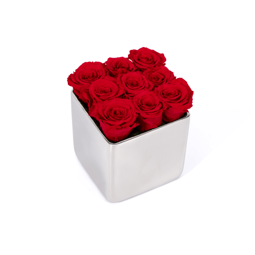 Valentine's Day Infinite Rose Silver Cube delivered in London