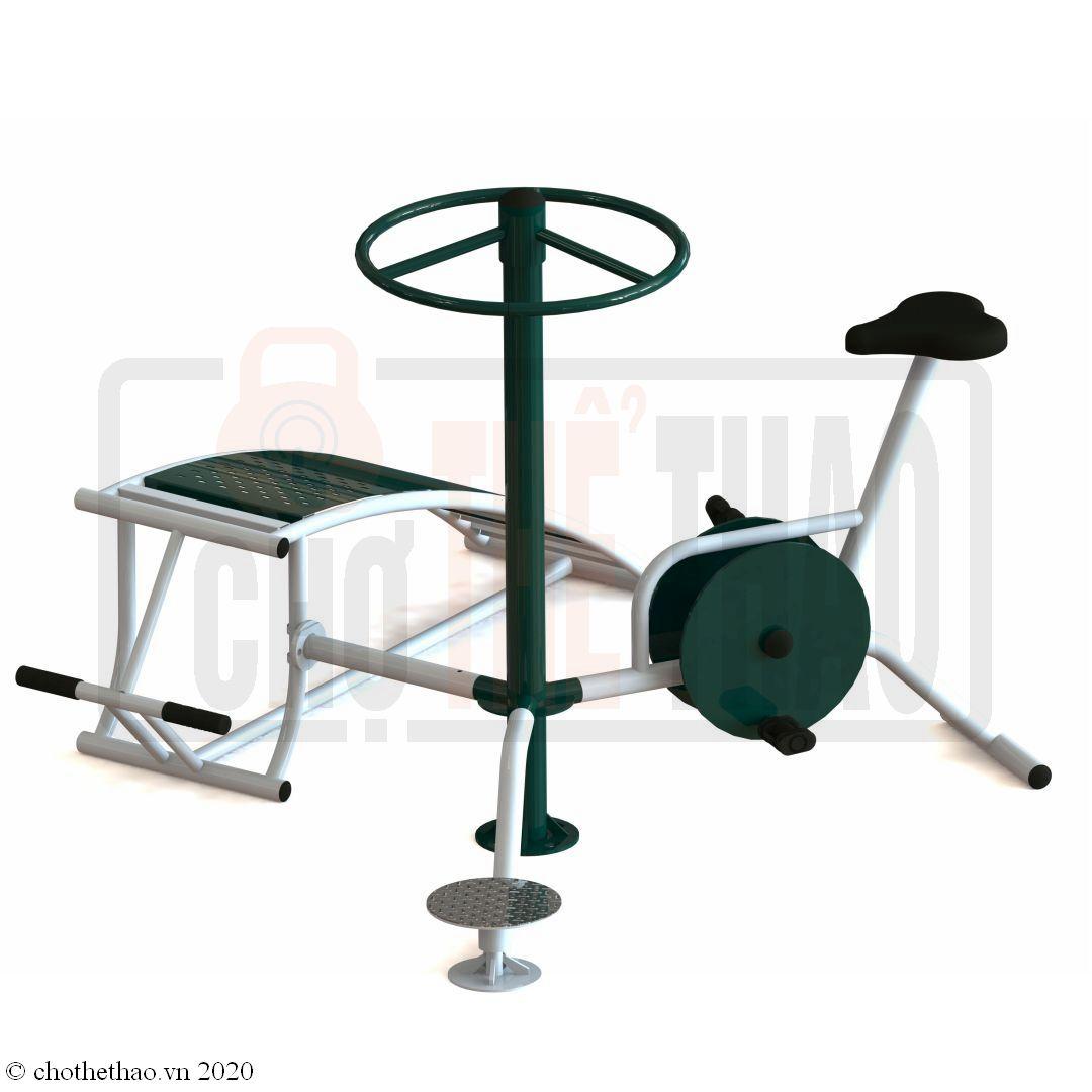 Máy tập thể dục ngoài trời Cụm lưng bụng, xoay eo, xe đạp VIFA 723335