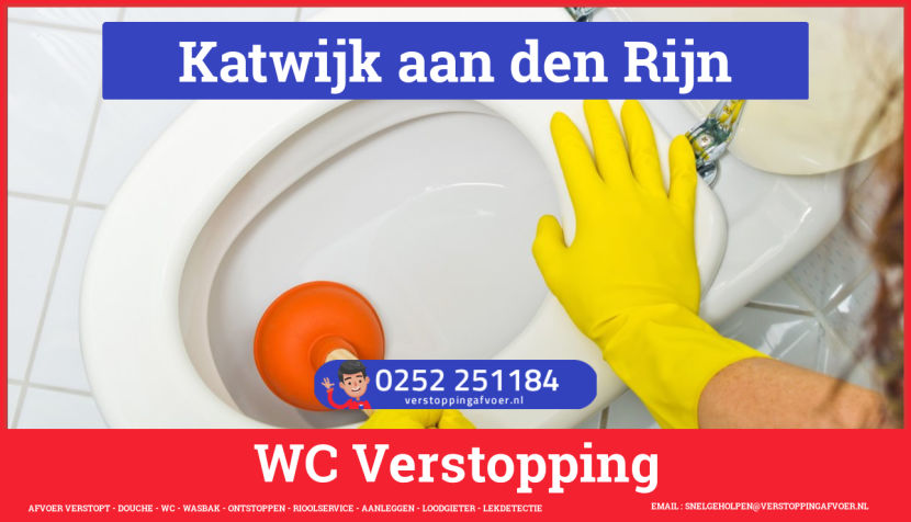 Verstopping wc ontstoppen in Katwijk aan den Rijn