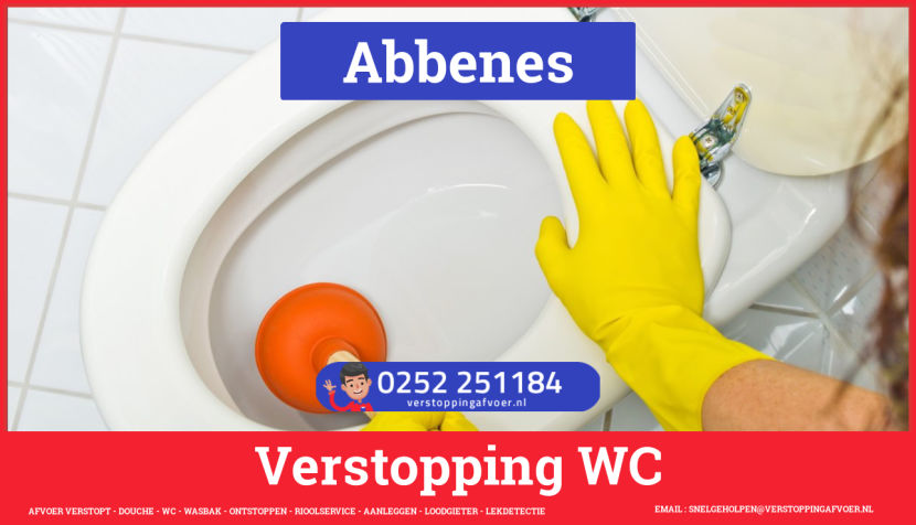 Verstopping wc ontstoppen in Abbenes