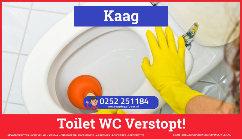Verstopping wc ontstoppen in Kaag