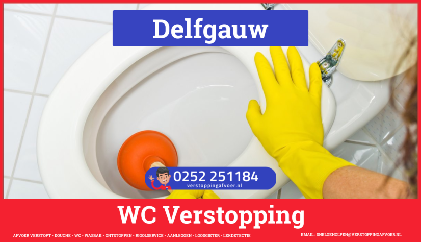 Verstopping wc ontstoppen in Delfgauw