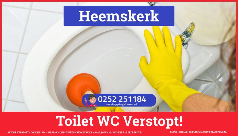 Verstopping wc ontstoppen in Heemskerk