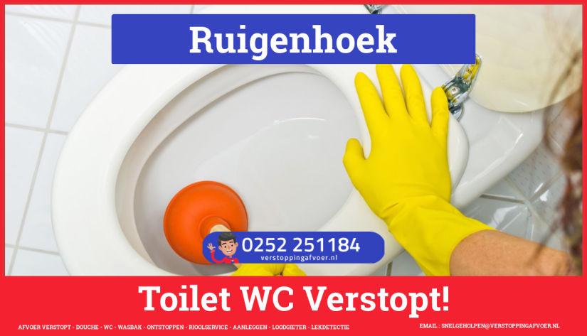 Verstopping wc ontstoppen in Ruigenhoek